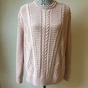 Pull&Bear cotton cable knit crewneck sweater